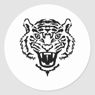 Tiger roaring classic round sticker
