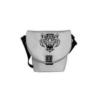 Tiger roaring messenger bag
