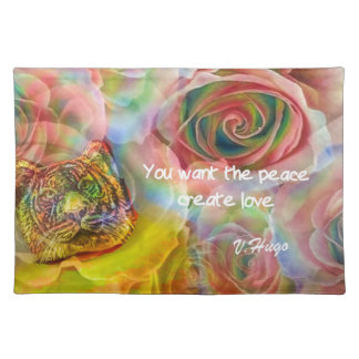 Tiger, roses and good message cloth placemat
