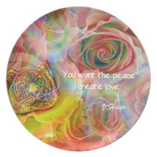 Tiger, roses and good message melamine plate