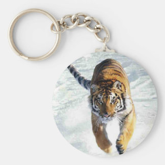 Tiger running in snow keychain