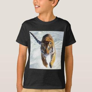 Tiger running in snow T-Shirt