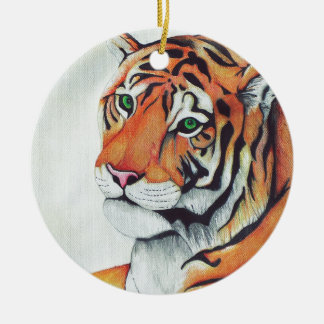 Tiger (Sad Eyes) - Kimberly Turnbull Art Ceramic Ornament