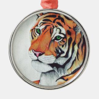Tiger (Sad Eyes) - Kimberly Turnbull Art Metal Ornament