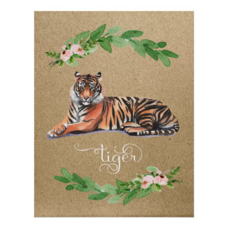 Tiger safari pink floral nursery print