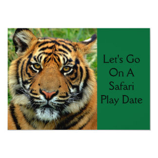 Tiger Safari Play Date Birthday Party Invitations