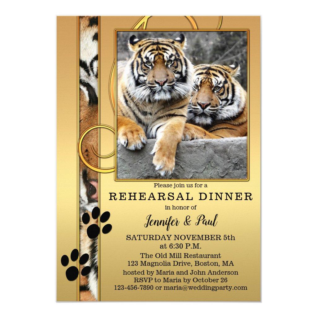 Tiger Safari Zoo Rehearsal Dinner Invitation