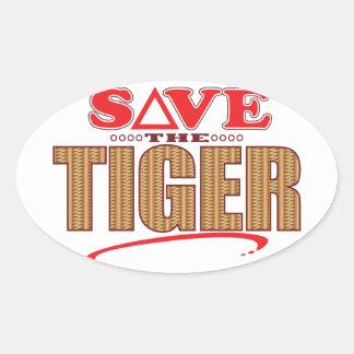 Tiger Save Oval Sticker
