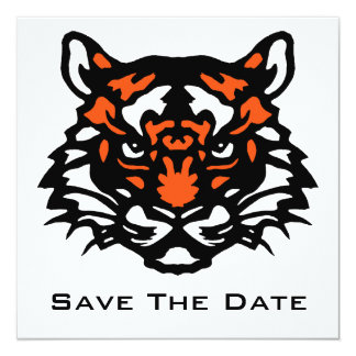 Tiger Save The Date 5.25x5.25 Square Paper Invitation Card