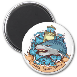 Tiger Shark Attack Lighthouse Tattoo Style Art 2 Inch Round Magnet