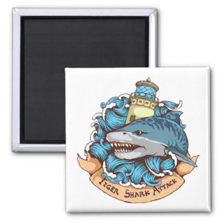 Tiger Shark Attack Lighthouse Tattoo Style Art 2 Inch Square Magnet