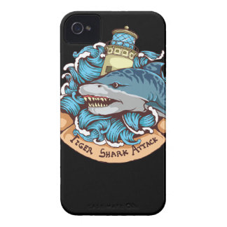 Tiger Shark Attack Lighthouse Tattoo Style Art iPhone 4 Cover