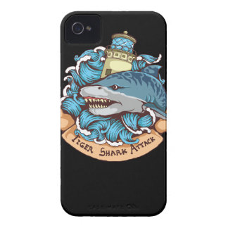 Tiger Shark Attack Lighthouse Tattoo Style Art Case-Mate iPhone 4 Case