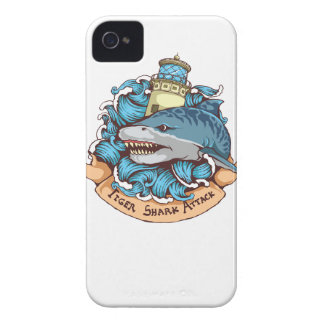 Tiger Shark Attack Lighthouse Tattoo Style Art iPhone 4 Case