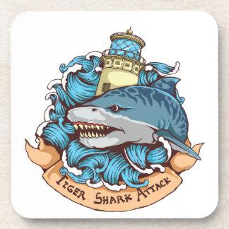 Tiger Shark Attack Lighthouse Tattoo Style Art Drink Coaster