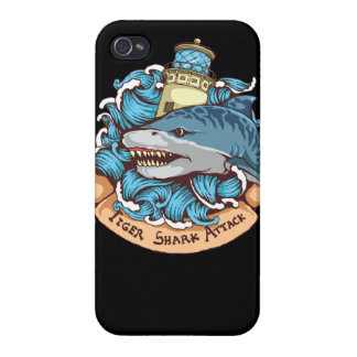 Tiger Shark Attack Lighthouse Tattoo Style Art iPhone 4/4S Cases