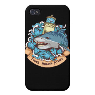 Tiger Shark Attack Lighthouse Tattoo Style Art Case For iPhone 4