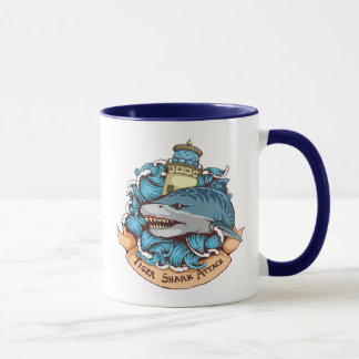 Tiger Shark Attack Lighthouse Tattoo Style Art Mug