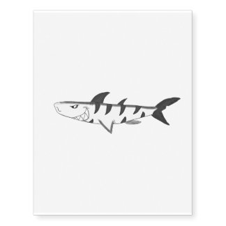 Tiger shark (black and white) temporary tattoos