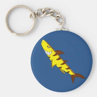 Tiger shark basic round button keychain