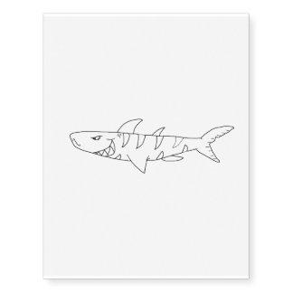 Tiger shark (line drawing) temporary tattoos