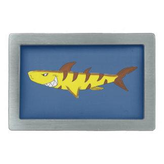 Tiger shark rectangular belt buckle