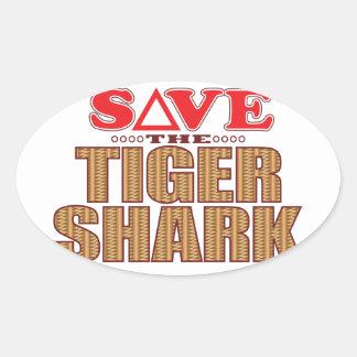 Tiger Shark Save Oval Sticker