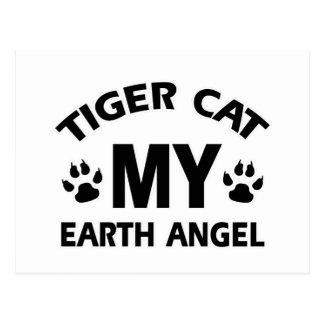 Tiger  siamese cat design postcard