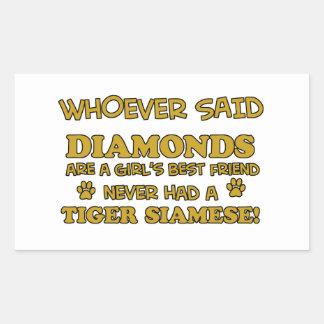 Tiger Siamese cat designs Rectangular Sticker