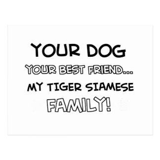 Tiger Siamese is family designs Postcard