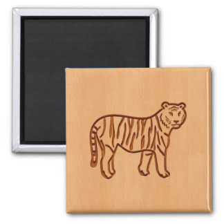 Tiger silhouette engraved on wood design 2 inch square magnet