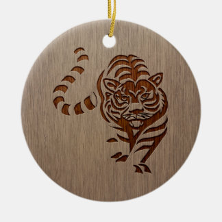 Tiger silhouette engraved on wood design ceramic ornament