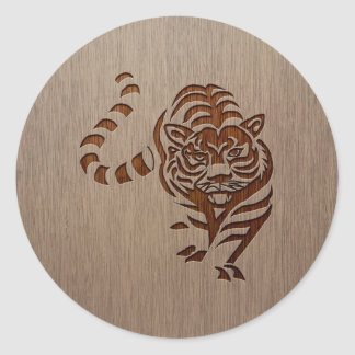Tiger silhouette engraved on wood design classic round sticker