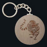"Tiger silhouette engraved on wood design keychain<br><div class=""desc"">Tiger silhouette engraved on wood design.</div>"