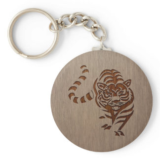 Tiger silhouette engraved on wood design keychain