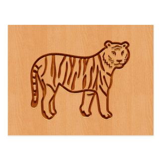 Tiger silhouette engraved on wood design postcard