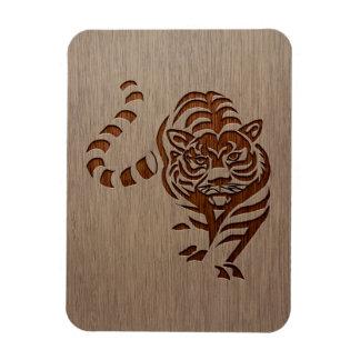 Tiger silhouette engraved on wood design rectangular photo magnet