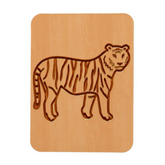 Tiger silhouette engraved on wood design rectangular photo magnet