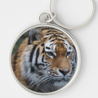 Tiger Silver-Colored Round Keychain