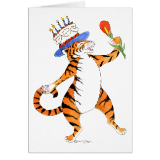 Tiger Sings Happy Birthday - Greeting Card