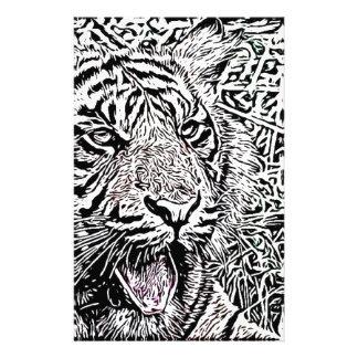 tiger sketch custom stationery