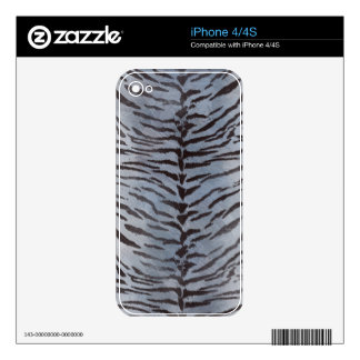 Tiger Skin in Blue Slate Decals For iPhone 4
