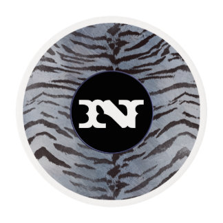 Tiger skin in Silver Blue Edible Frosting Rounds