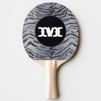 Tiger skin in Silver Blue Ping Pong Paddle