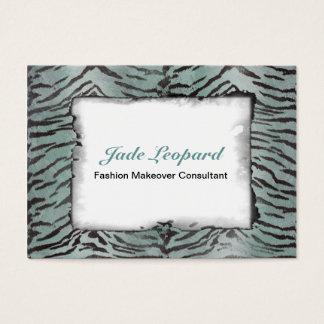Tiger Skin Print in Minty Jade Business Card