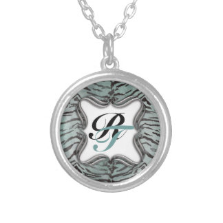 Tiger Skin Print in Minty Jade Silver Plated Necklace