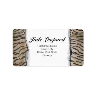 Tiger Skin Print in Natural ivory Address Label
