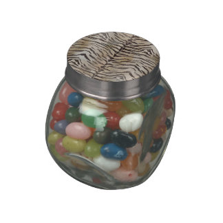 Tiger Skin Print in Natural Ivory Jelly Belly Candy Jars