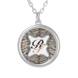 Tiger Skin Print in Natural ivory Silver Plated Necklace