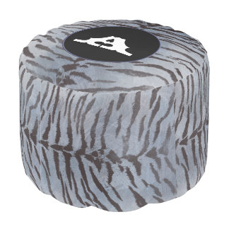 Tiger Skin Print in Silver Blue Round Pouf